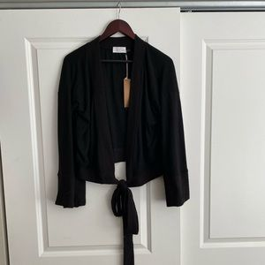 Black sweater with front tie